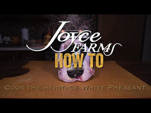 Video instructions and recipe on how to simply prepare Joyce Farms Heritage White Pheasant at home by roasting in the oven. This pheasant is raised with no antibiotics on small family farms and is available to order online for home delivery.