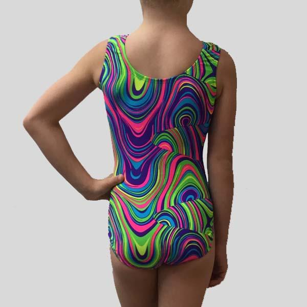 MF MULTICOLOUR SWIRL GYMNASTIC LEOTARD - CHILD #178
