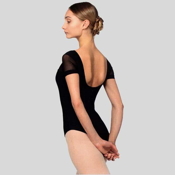 GRISHKO SHORT SLEEVE WITH MESH LEOTARD - ADULT #2073