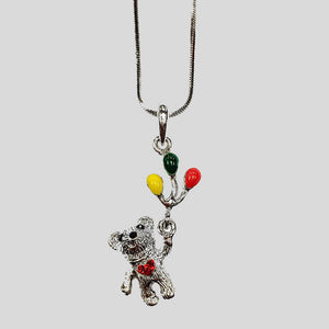 BEAR WITH BALLOONS PENDANT NECKLACE - #N060155R