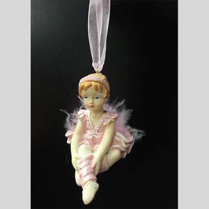 CHRISTMAS TRADITION SITTING BALLERINA GIRL ORNAMENT