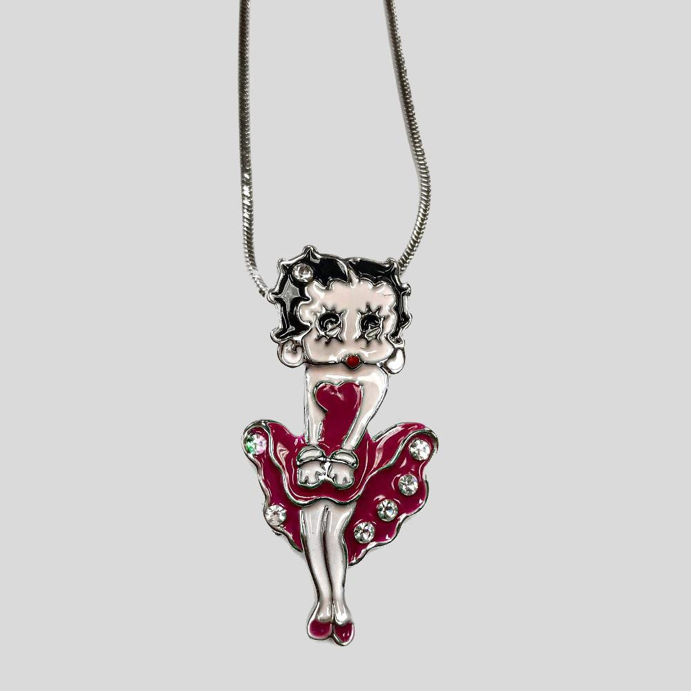 BETTY BOOP PENDANT NECKLACE, PINK - #N045215E