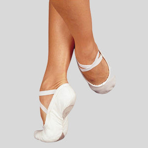 SANSHA WHITE CANVAS BALLET SLIPPER - PRO 1C