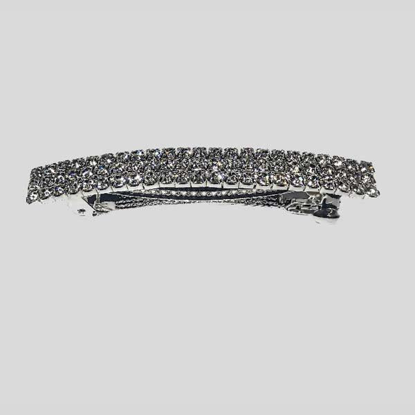 FH2 THREE ROW RHINESTONE BARRETTE, CRYSTAL CLEAR - #AY0019
