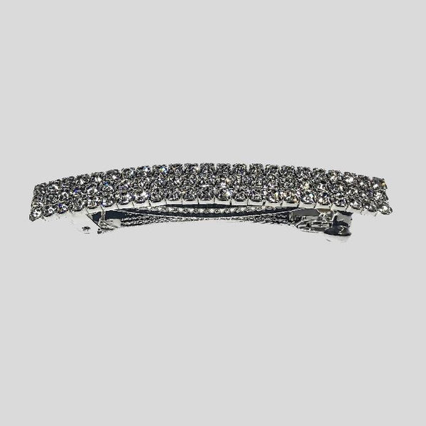 FH2 THREE ROW RHINESTONE BARRETTE, CRYSTAL CLEAR- #AY0019