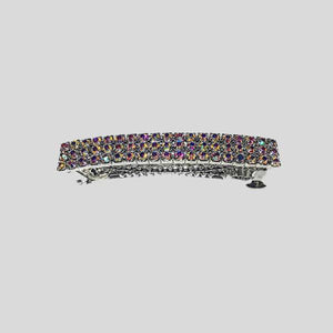 FH2 THREE ROW RHINESTONE BARRETTE, AB - AY0019-1