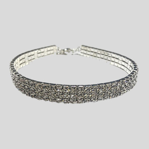 FH2 3 ROW RHINESTONE STRETCH CHOKER, CRYSTAL CLEAR - ADULT #AZ0005