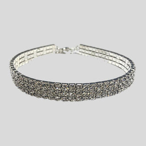 FH2 3 ROW RHINESTONE STRETCH CHOKER, CRYSTAL CLEAR - CHILD #AZ0005-1