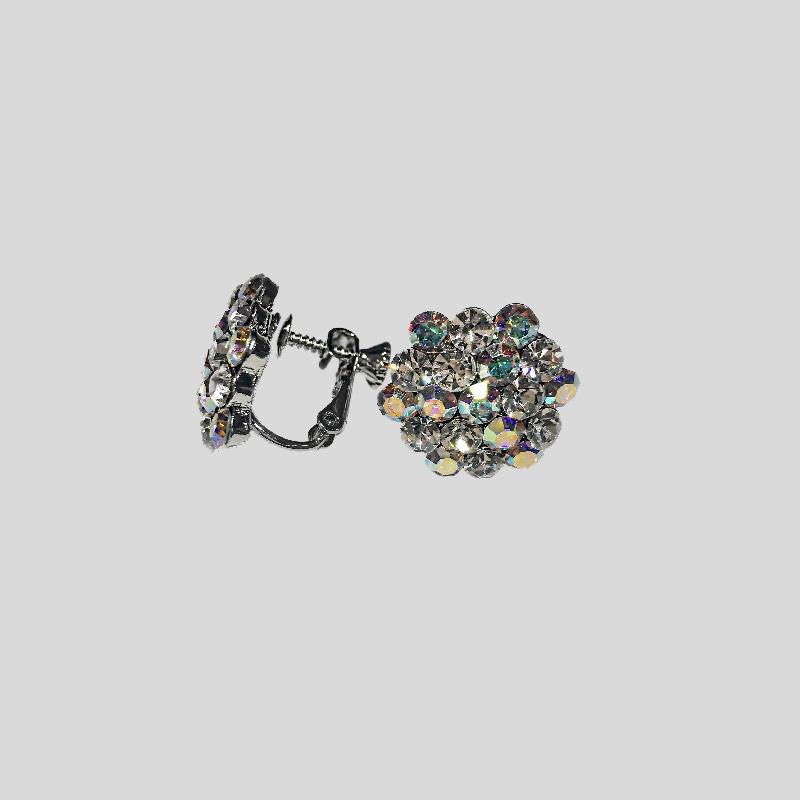 FH2 CLUSTER RHINESTONE EARRINGS, AB - AZ0014-1 CLIP-ON