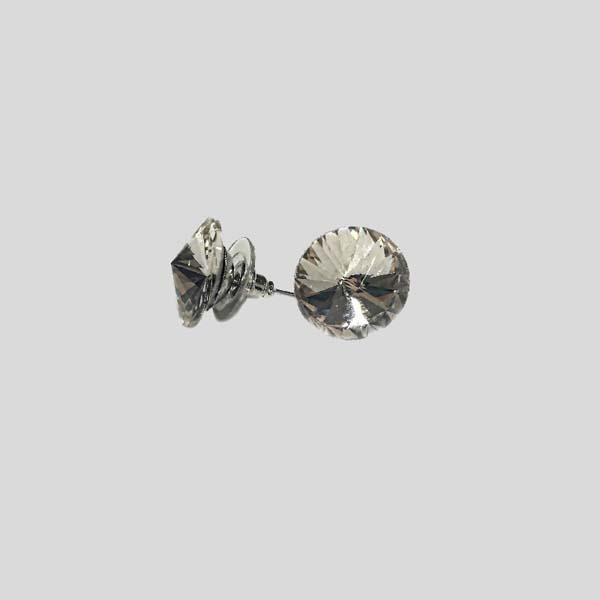 ELKA SINGLE STONE EARRING, LARGE, PIERCED - #SINGLESTONE