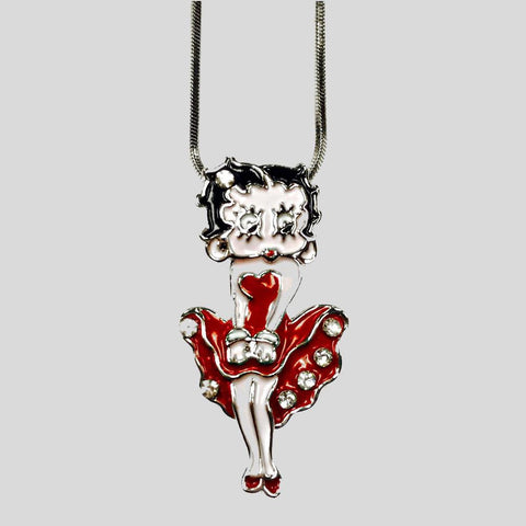 BETTY BOOP PENDANT NECKLACE, RED - #N045215E