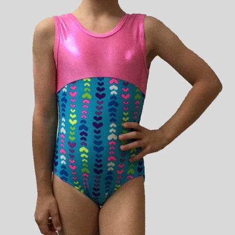 MF HEARTS ON BLUE GYMNASTIC LEOTARD - CHILD #176