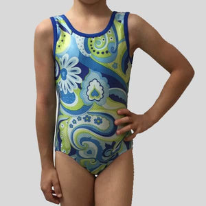 MF BLUE PAISLEY SWIRLS GYMNASTIC LEOTARD - CHILD #180