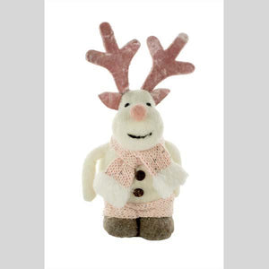 "STARLIGHT TRADING 9"" REINDEER TABLE PIECE FIGURINE WITH PINK SCARF - #DK0759"