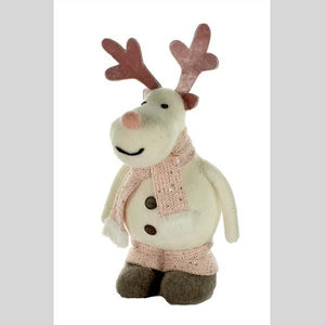 "STARLIGHT TRADING 14.5"" WHITE/PINK FABRIC CHRISTMAS REINDEER - #ST4068P"