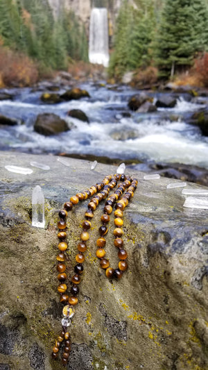 Tigers Eye Gemstone Hand Knotted Prayer Mala 108 Beads