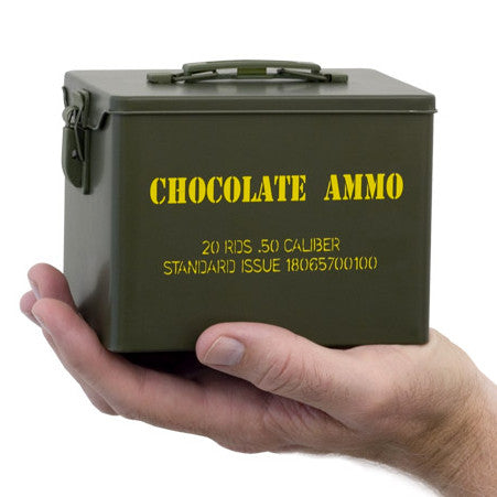 Chocolate Bullets in Mini Ammo Can
