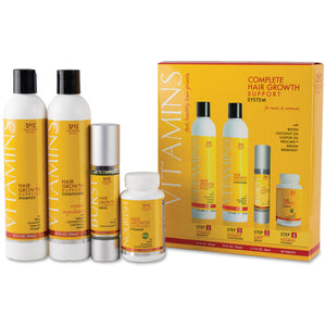 Vitamins Hair Growth Support System including Shampoo, Conditioner, Accelerating Serum and Hair Growth Support Vitamins