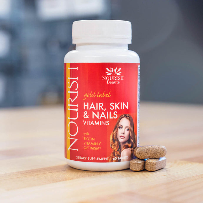 Nourish gold label Hair, Skin, and Nails Multi Vitamin with Biotin, Vitamin C, Optimsm