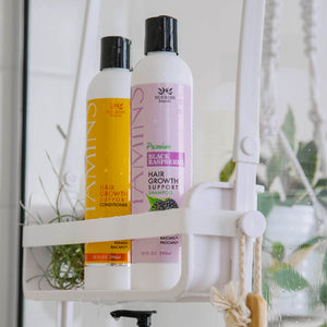 Premium Hair Growth Support Shampoo, Black Raspberry, Sulfate Free, with Biotin, Keratin, Acai Fruit Oil, Baicapil, Procapil displayed in front of bottle of Hair Growth Support Conditioner