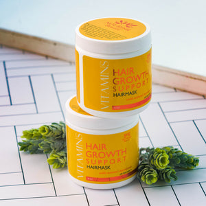 Two jars of Vitamins Hair Growth Support Nourishing HairMask with Natural Ingredients stacked on top of one another