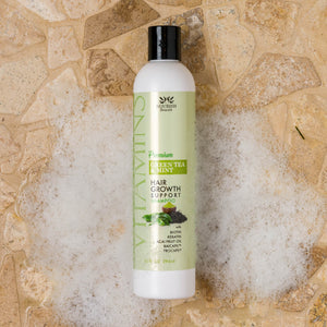 Premium Hair Growth Support Shampoo, Green Tea and Mint, Sulfate Free, with Biotin, Keratin, Acai Fruit Oil, Baicapil, Procapil with bubbles on it