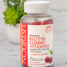 Load image into Gallery viewer, Nourish Premium Biotin Gummy Vitamins, Healthy Hair, Skin and Nails Support, Cherry Flavor includes Vitamins A, C, D, E, B-6, B-12