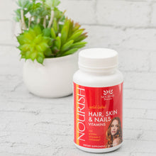 Load image into Gallery viewer, Bottle of Nourish gold label Hair, Skin, and Nails Multi Vitamin with Biotin, Vitamin C, Optimsm