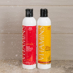Vitamins Hair Growth Support Shampoo and Conditioner with Biotin, Keratin, and Baicapil in the shower
