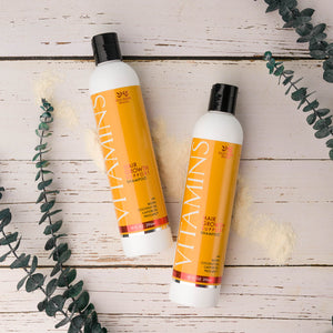 Two bottles of Vitamins Hair Growth Support Shampoo with Biotin, Coconut Oil, Castor Oil, and Procapil