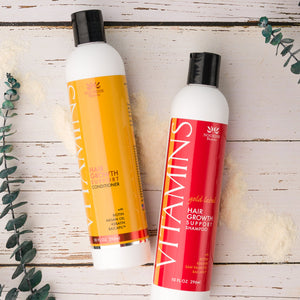 Vitamins Hair Growth Support Shampoo and Conditioner with Biotin, Keratin, and Baicapil