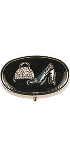 Pillbox w/Rhinestone Purse and Shoe Design
