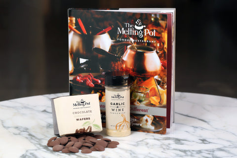 The Cookbook, Milk Chocolate Wafers and Garlic & Wine Seasoning on Table