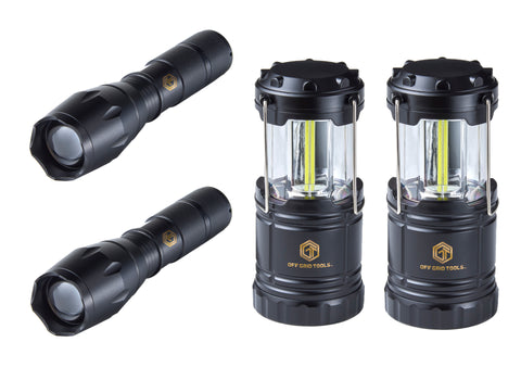 OGT Tactical Flashlight + Portable Lantern Bundle