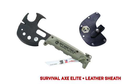 Green/Black Survival Axe Elite + Leather Sheath - Pro