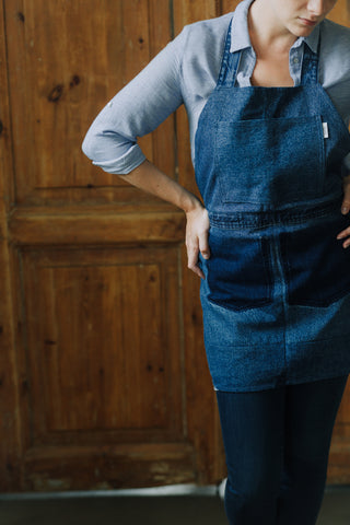 Blue denim apron