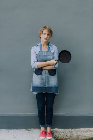 Grey denim apron