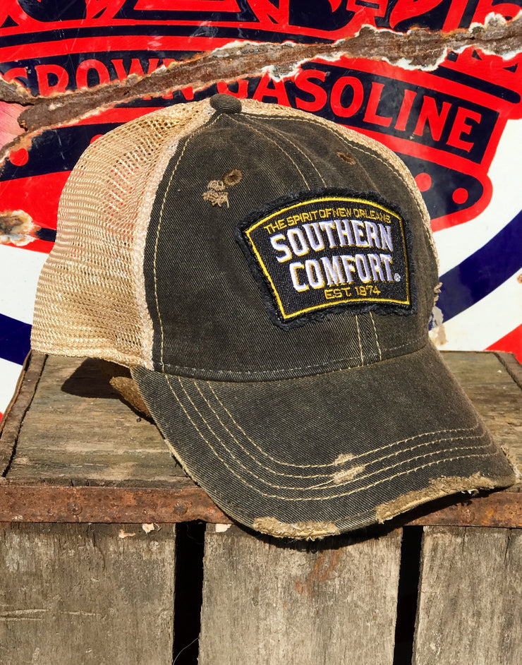Southern Comfort Hat- Distressed Black Snapback