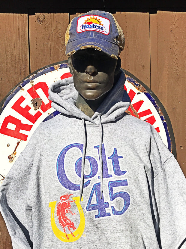 Colt 45 Beer Vintage Logo Hoodie- Heather Grey