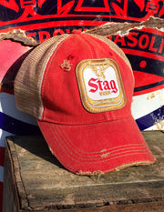 Stag Beer Hat- Distressed Red Angry Minnow Vintage