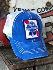 Pabst Blue Ribbon Beer Distressed Hat Angry Minnow Vintage