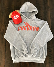 Chevron Winged Hoodie-Heather Grey