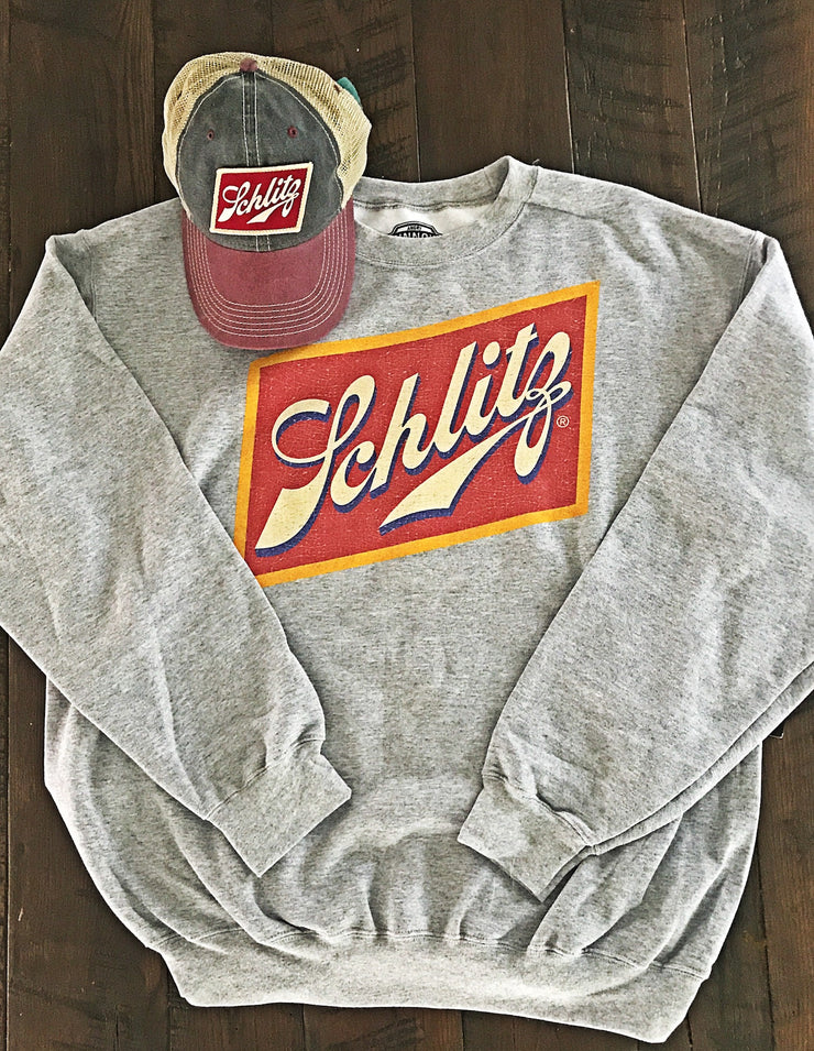 Schlitz Beer Crewneck Sweatshirt- Heather Grey