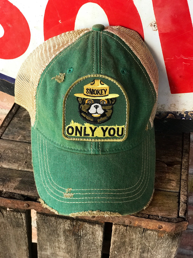 Smokey Bear ONLY YOU Hat- Distressed Kelly Green Snapback