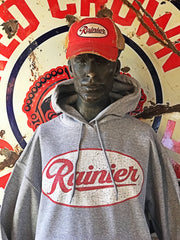 Rainier Beer Hoodie- Heather Grey
