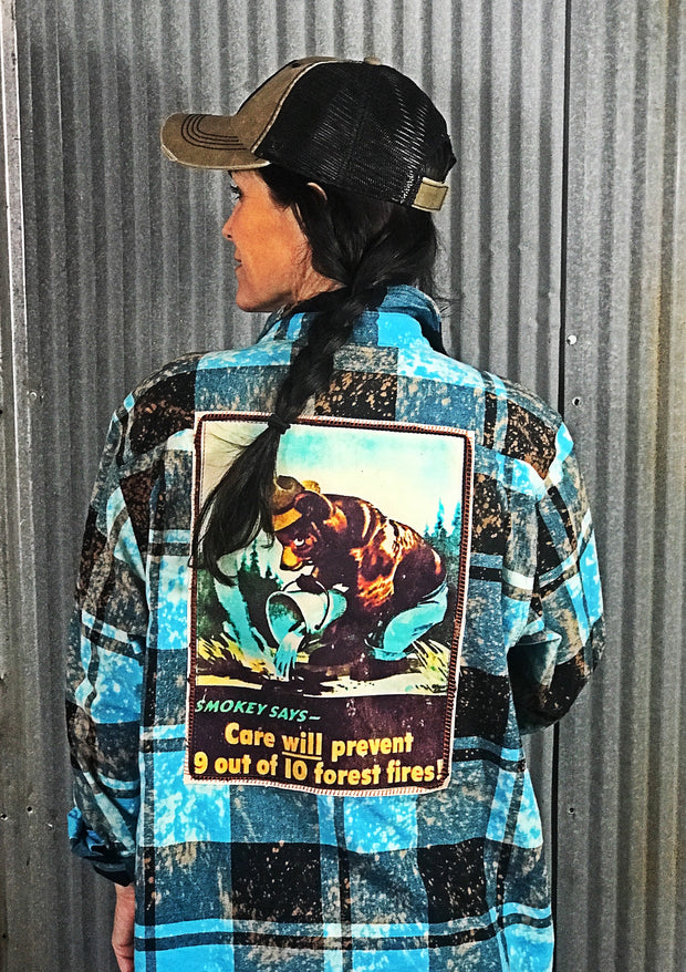 Smokey Bear Art Flannel - Turquoise - Angry Minnow Vintage Officially Licensed