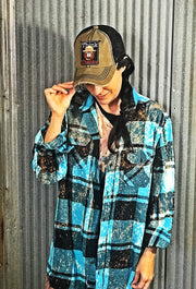 """SMOKEY SAYS"" Art Flannel- Turquoise"