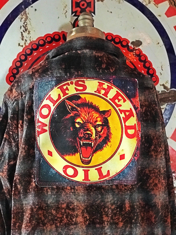 Wolfs Head Oil Flannel Art Flannel- Antique Black- Angry Minnow Vintage