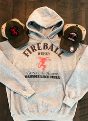 Fireball Whisky Label Hoodie- Heather Grey