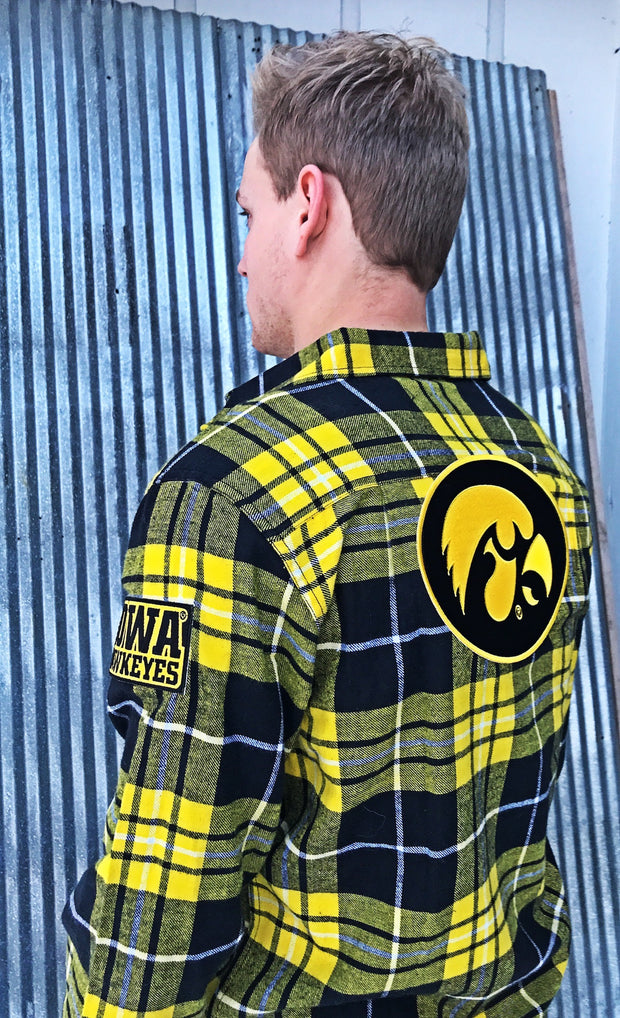 University of Iowa Hawkeyes Patch Flannel-Classic Yellow-Angry Minnow Vintage